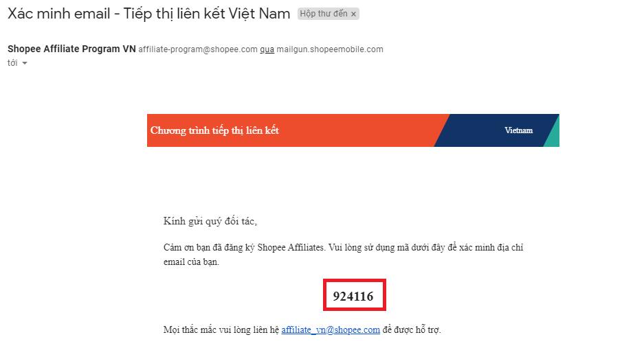 Khi đăng ký email sẽ có mã xác nhận gửi về trong bạn gồm 6 số
