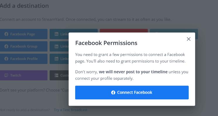 Ví dụ bạn add tài khoản Facebook để phát trực tiếp