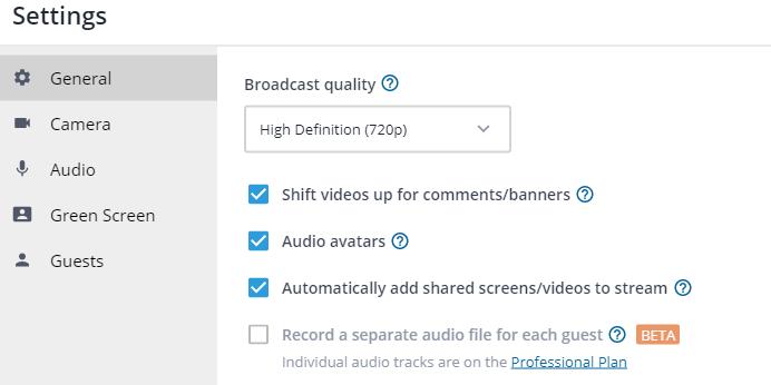 Cài đặt Camera và Audio trong StreamYard