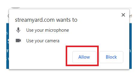 Bạn nhấn Allow để thêm Camera và Micro vào ứng dụng livestream