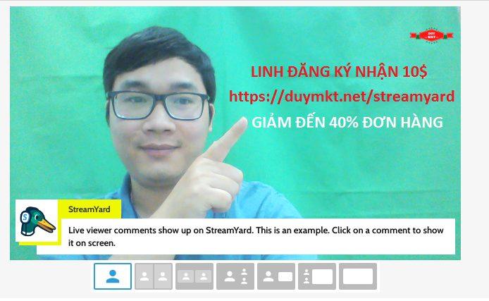 Hiện thị bình luận livestream trên màn hình điều khiển của StreamYard