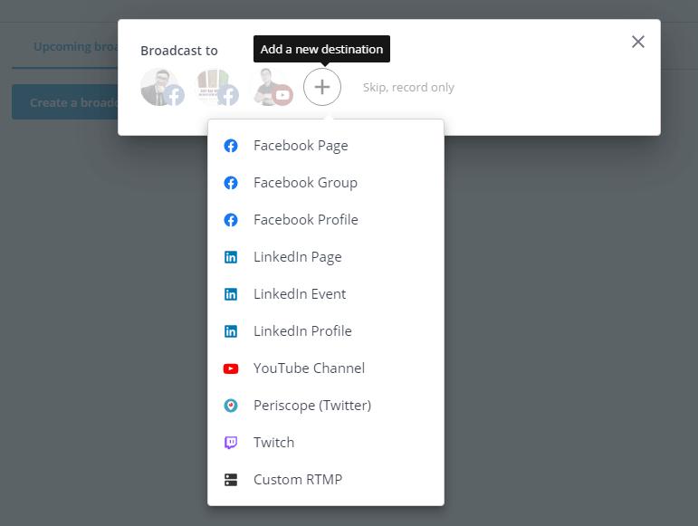 Lựa chọn thêm các mạng xã hội để phát trực tiếp