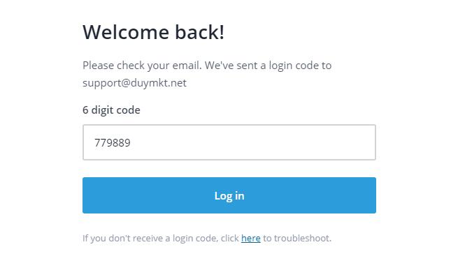 Sau đó nhập 6 số trong email vào để đăng nhập tài khoản StreamYard