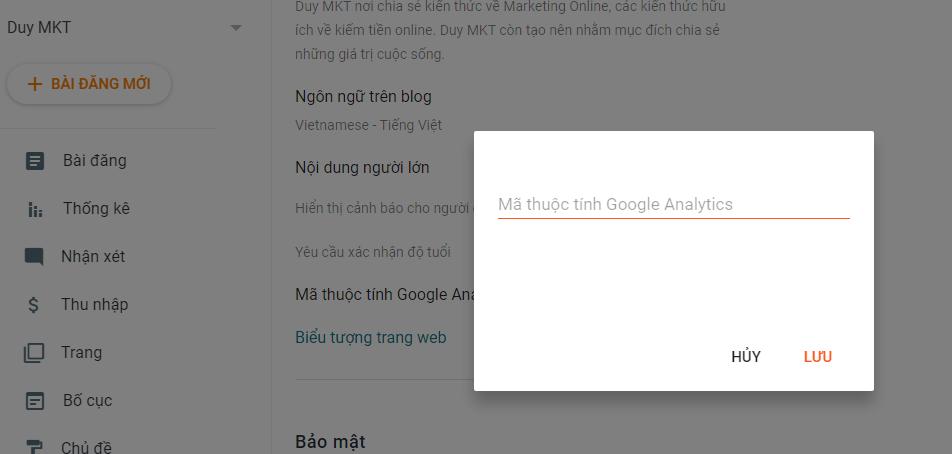 Cách nhập mã google analytics vào blogspot